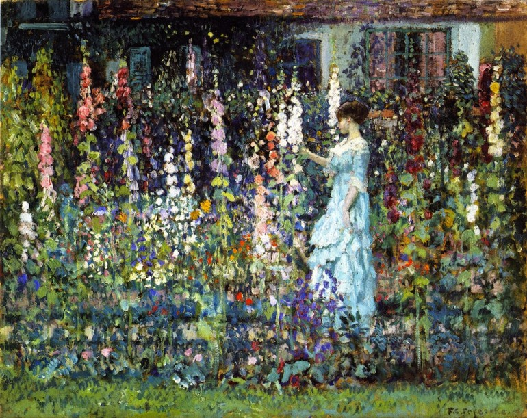 hollyhocks-frederick-c-frieseke