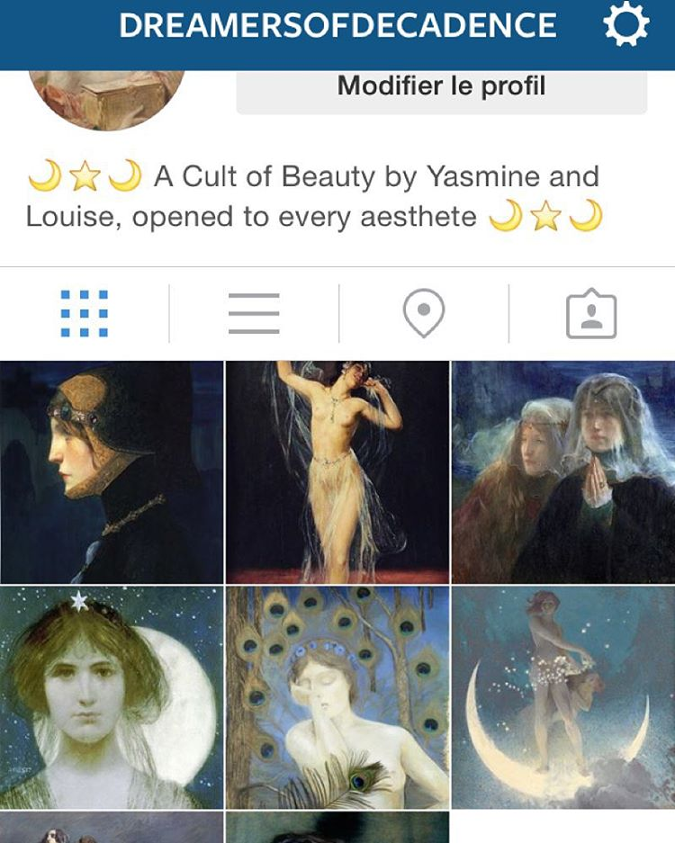 I opened an Instagram account with my friend @yasminebaiou, devoted to paintings ! ⭐️ Follow us on @dreamersofdecadence ⭐️