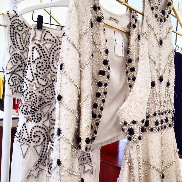 Intricate beaded gowns at @aliceandolivia, inspired by the magic of Versailles ⭐️?? #aospring15