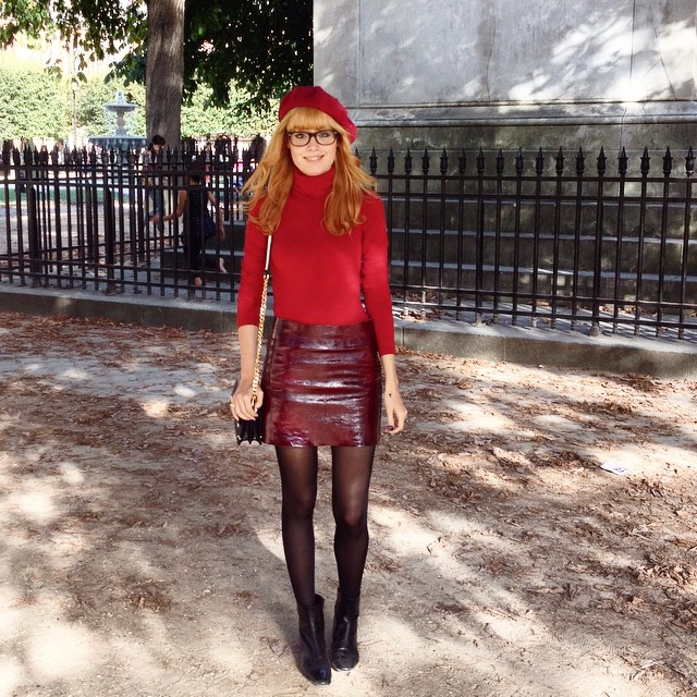Its a beautiful sunny day (for a change...) ??? Wearing @majeofficiel skirt @wolfordfashion top and Carel boots. Thanks Marie for the picture ! ??