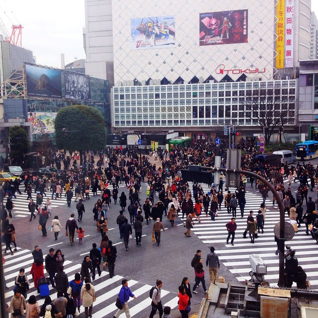 Shibuya's famous crossing ! They make such a big fuss out of it in touristic guides but It's really not that crowded actually ! ??