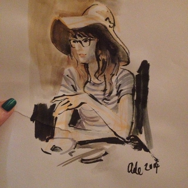 The very talented @adehogan drew me in Tokyo, and I couldnt be more excited about this beautiful and poetic memory of a lovely evening...his work is amazing ! ?