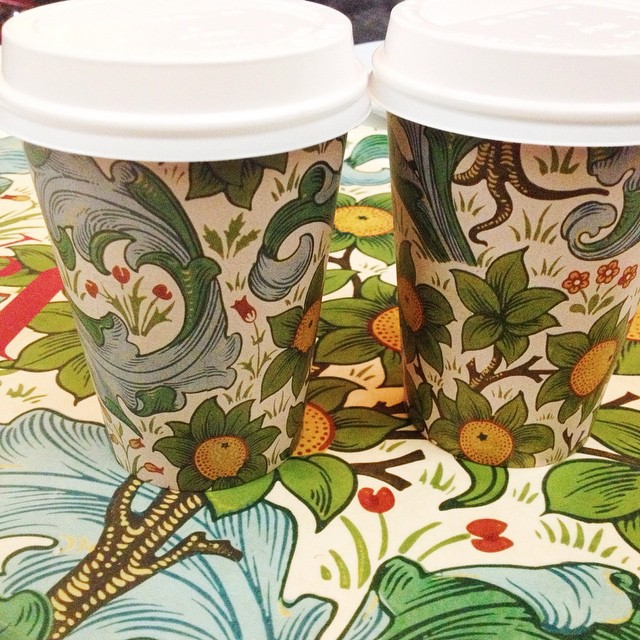 William Morris coffee cups at the V&A cafeteria, how awesome is that ??? ? #fromlondonwithlove