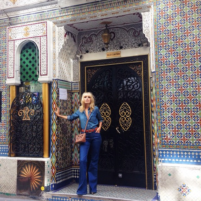 Morrocan mosaics in Paris wearing gerardarel iconic Anna flares andhellip